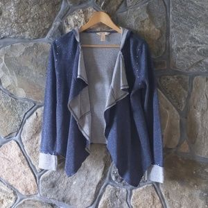 Hooded Sparkle Studded Long Sleeve Shrug with Cuff
